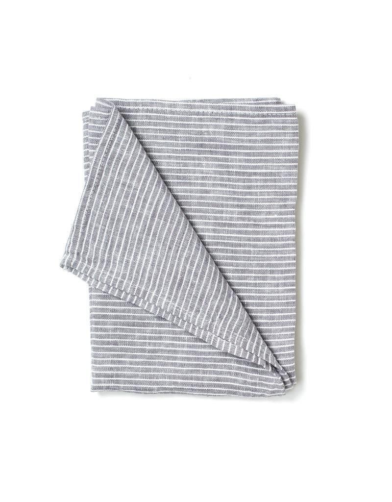 Fog Linen Gray & White Striped Linen Kitchen Towel