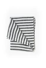 Fog Linen Linen Kitchen Towel-Black & White Stripe