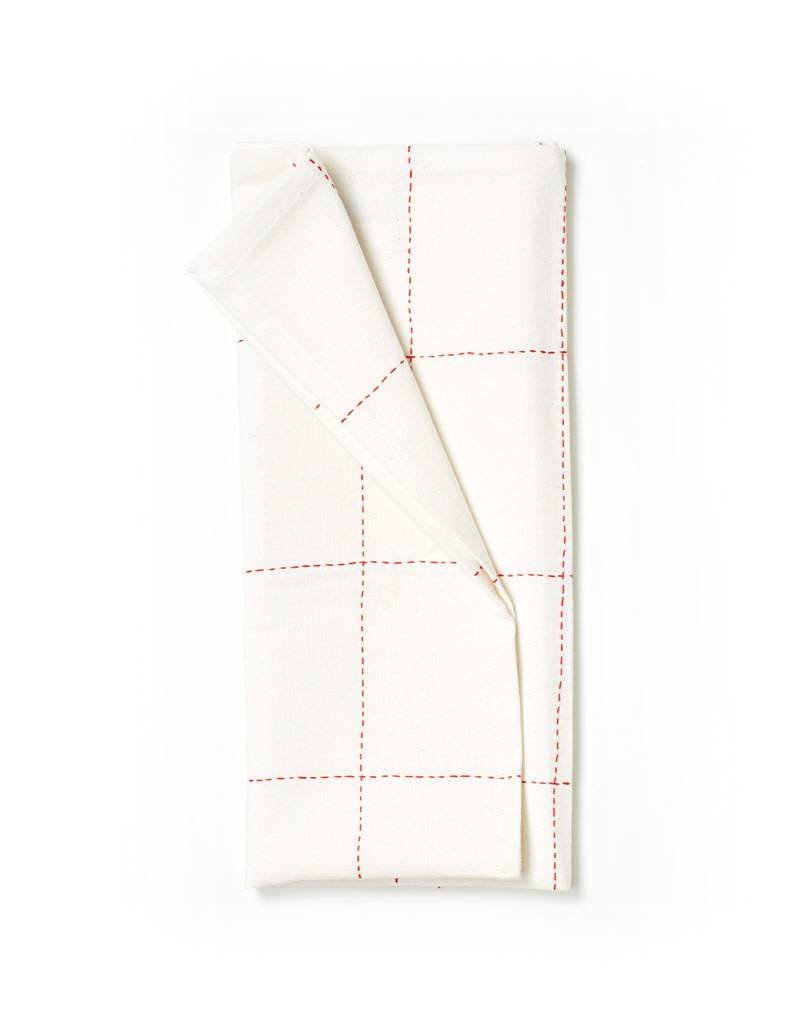 Anchal Project Red Grid Tea Towel