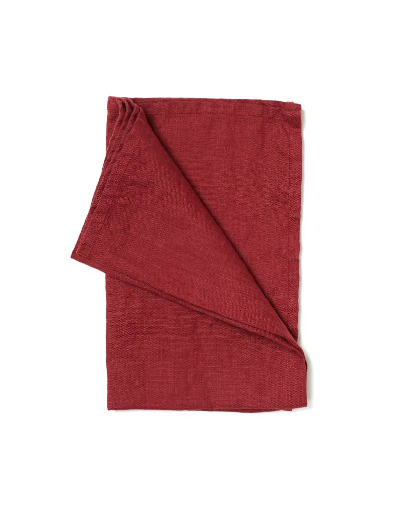 Not Perfect Linen Deep Burgundy Linen Tea Towel