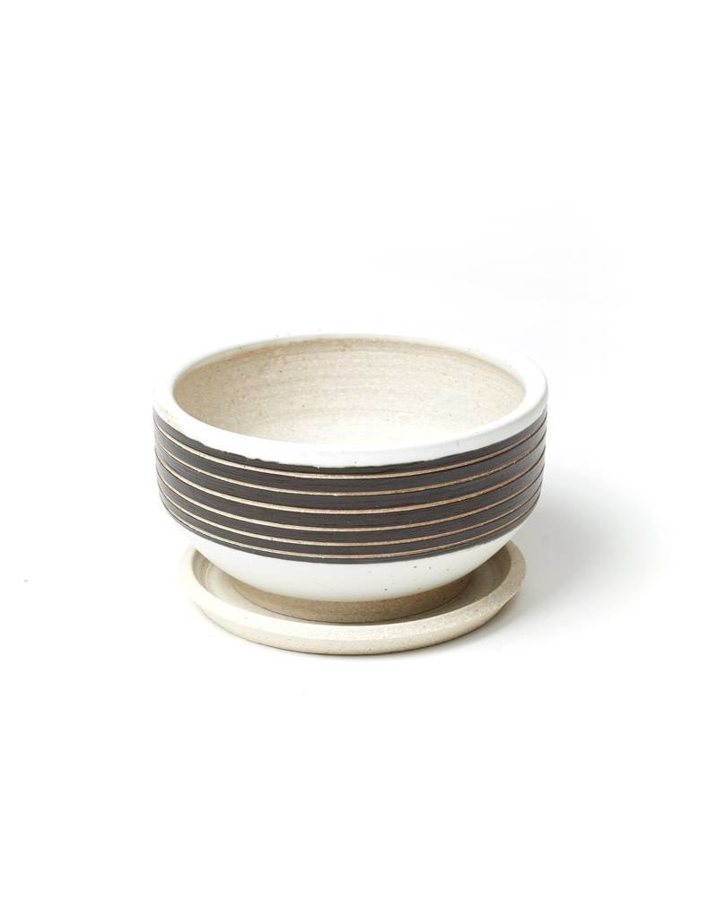 Veak Ceramics Black + Clay Planter with Tray, Medium