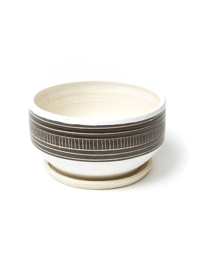 Veak Ceramics Black + Clay Planter with Tray, Large