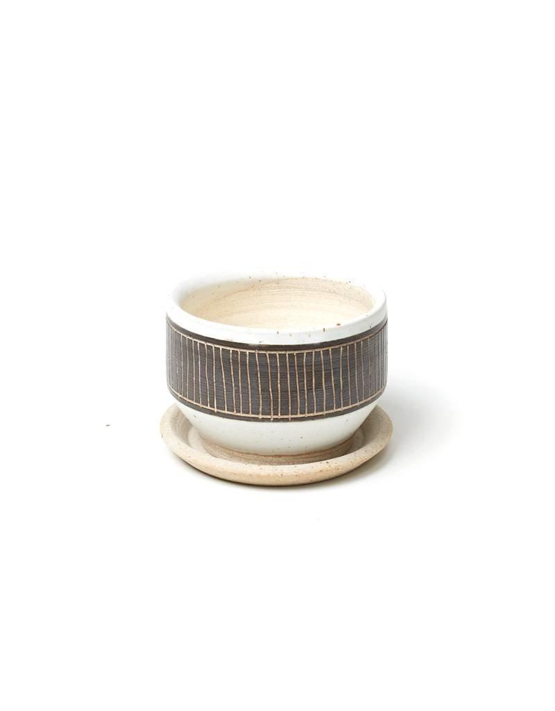 Veak Ceramics Black + Clay Planter with Tray, Small