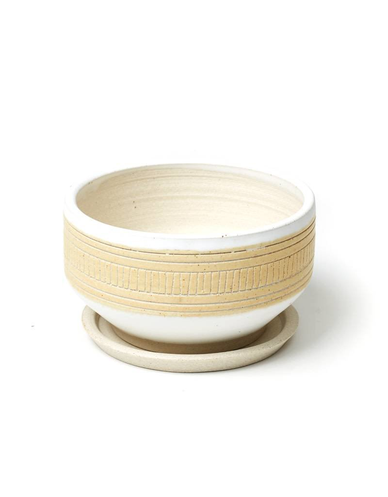 Veak Ceramics Yellow + Clay Planter with Tray, Large