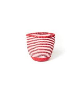 Mifuko Kiondo Basket Red Thin Stripe Small