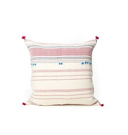 Injiri Pink and White Multi Stitch Pillow