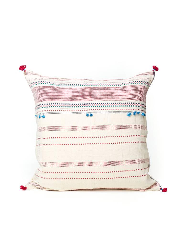 Injiri Pink and White Multi Stitch Pillow