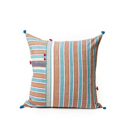 Injiri Orange and Teal Stripes Pillow