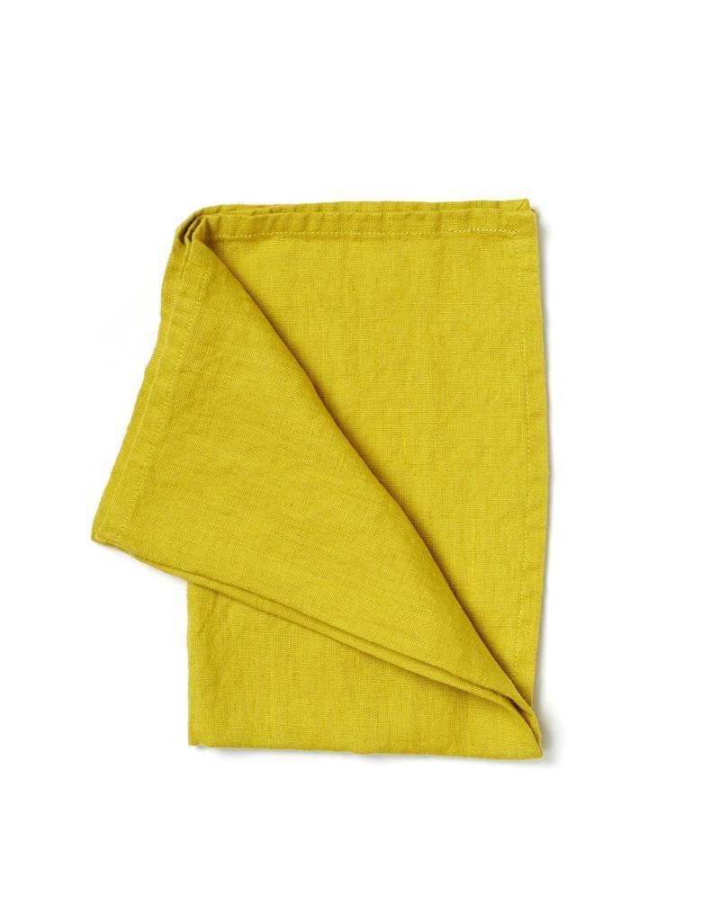Not Perfect Linen Greenish Mustard Linen Tea Towel