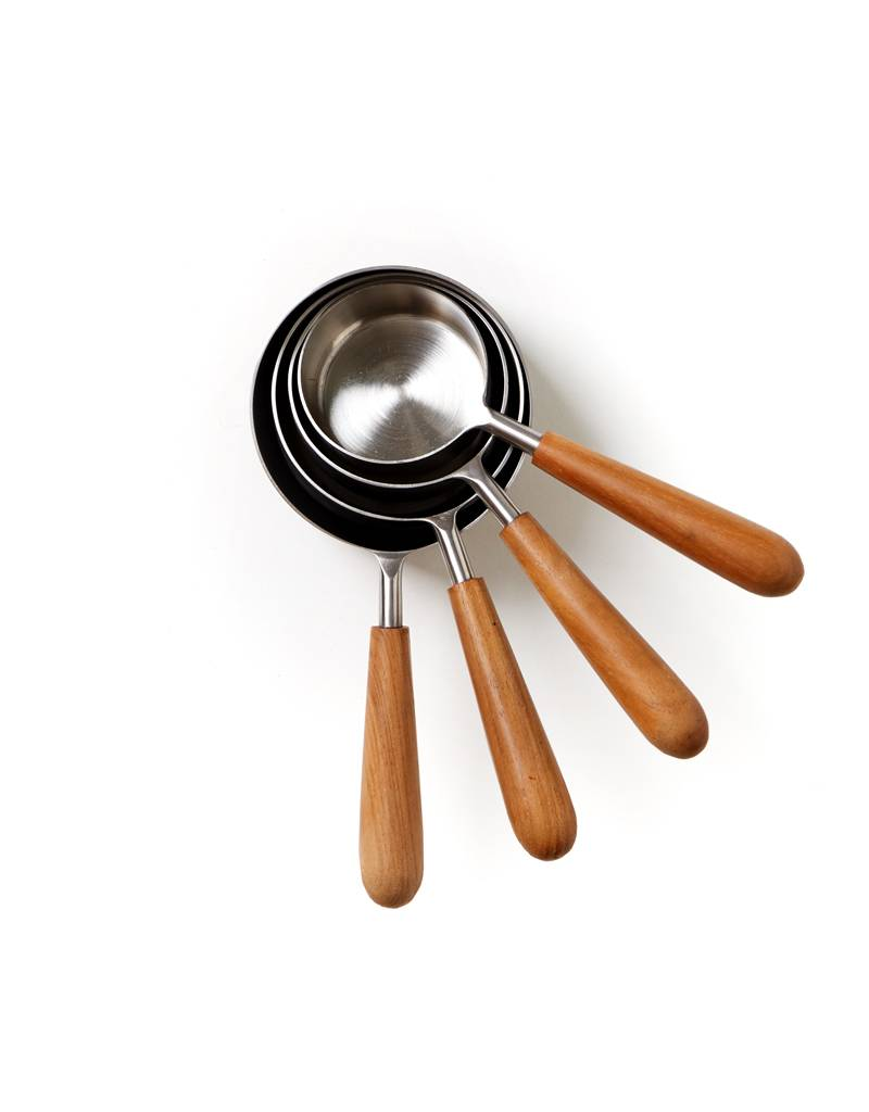 Be Home Measuring Cups, Teak & Stainless