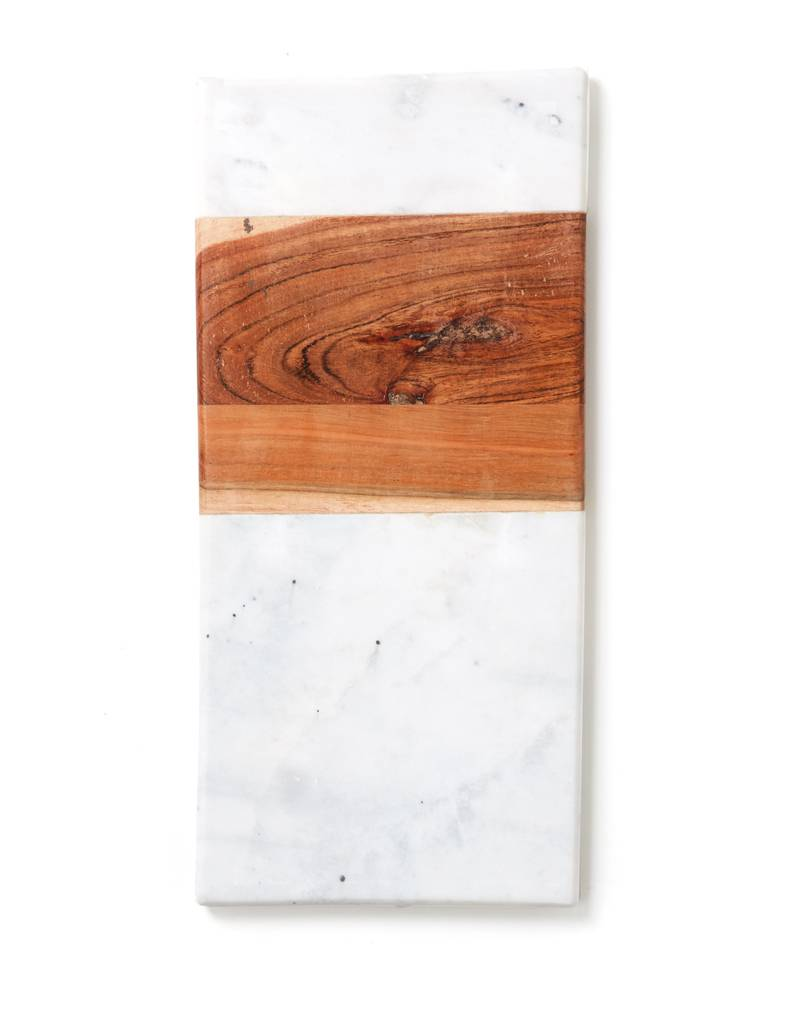 Be Home Marble and Acacia Rectangle Board