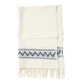 Creative Women Handwoven Tibeb Hand Towels Natural w/ Navy Stripes