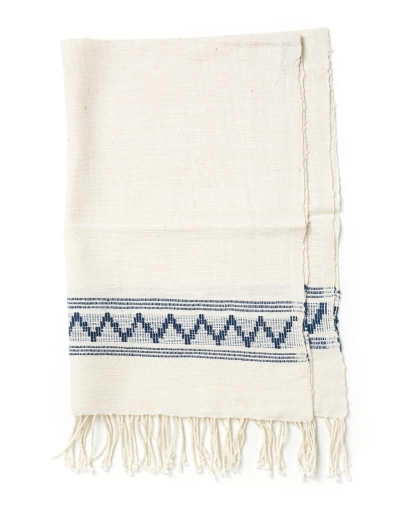 Creative Women Handwoven Tibeb Hand Towels Natural w/ Navy Stripes