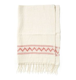 Creative Women Handwoven Tibeb Hand Towels Natural w/ Adobe Stripes
