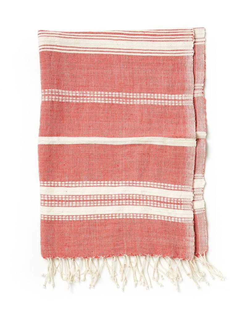 Creative Women Handwoven Hand Towels Adobe w/ Natural Stripes
