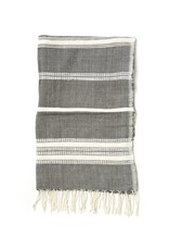 Creative Women Handwoven Hand Towels Gray with Natural Stripes