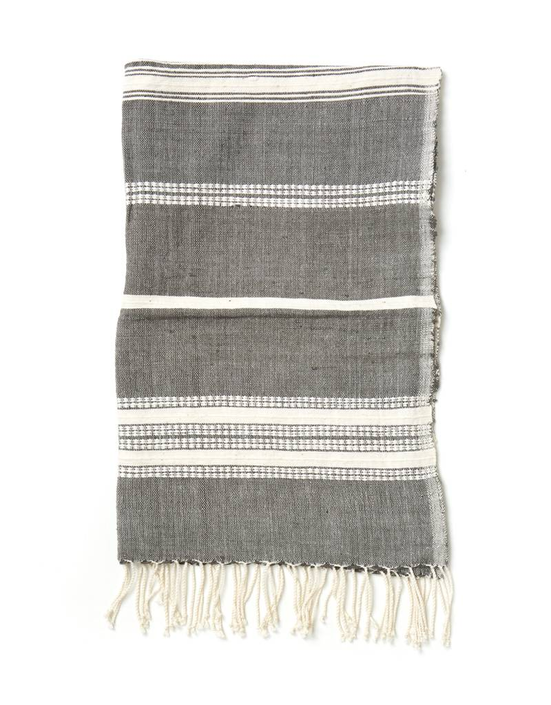 Creative Women Handwoven Hand Towels Gray w/ Natural Stripes
