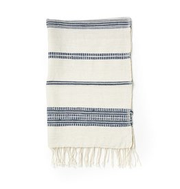 Creative Women Handwoven Hand Towels Natural w/ Navy Stripes