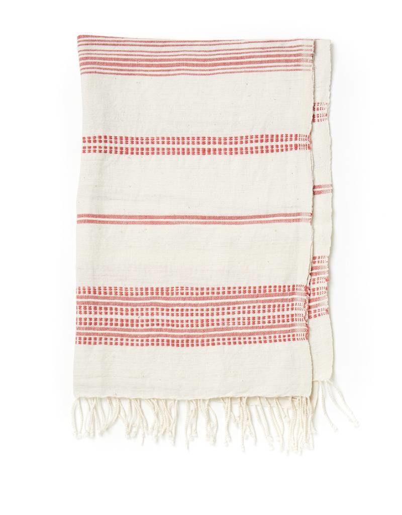 Creative Women Handwoven Hand Towels Natural w/ Adobe Stripes
