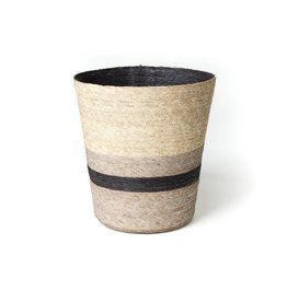 Makaua Conical Palm Leaf Basket Carbon Stripe