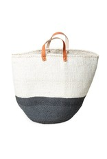 Mifuko Kiondo Basket Gray L 50/50, with Handles