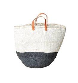 Mifuko Kiondo Basket Gray L 50/50, with Handles
