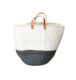 Mifuko Kiondo Basket with 1/2 Gray Stripe and Leather Handles