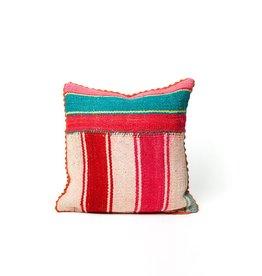 Shupaca Heirloom Pillow 20x20 B Pink & Teal Stripes