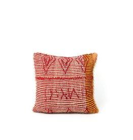 Shupaca Heirloom Pillow 20x20 B Hot Pink Stripes with Diamonds
