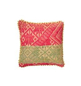 Shupaca Heirloom Pillow 20x20 B Neon Pink with Sage