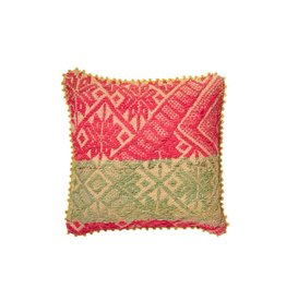 Shupaca Neon Pink with Sage Heirloom Pillow