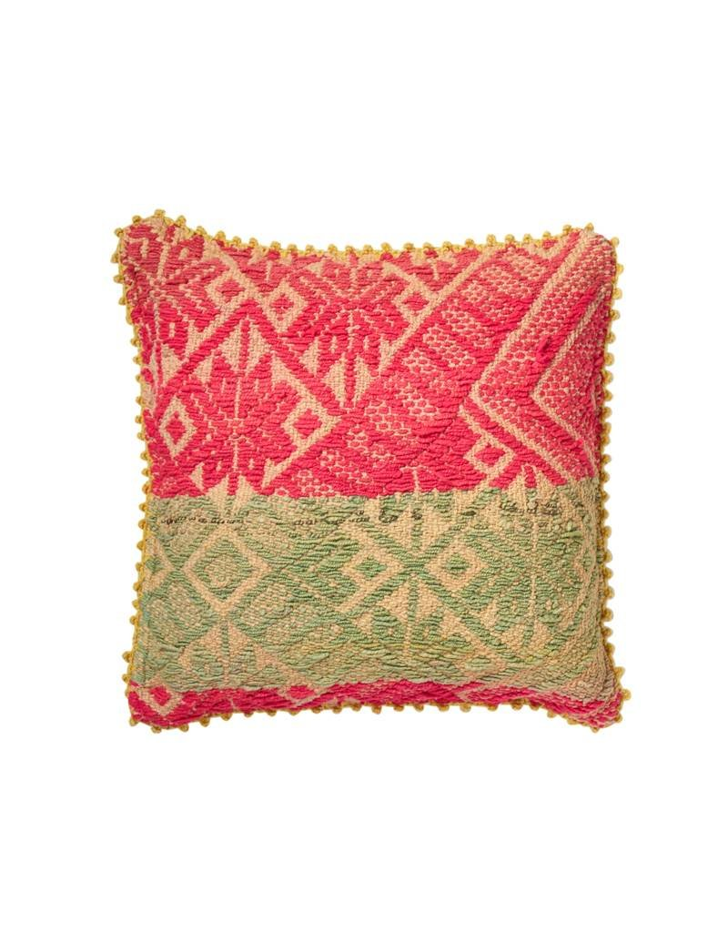 Shupaca Heirloom Pillow 20x20 B Neon Pink with Sage
