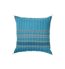 Injiri Teal Plaid Cotton Pillow