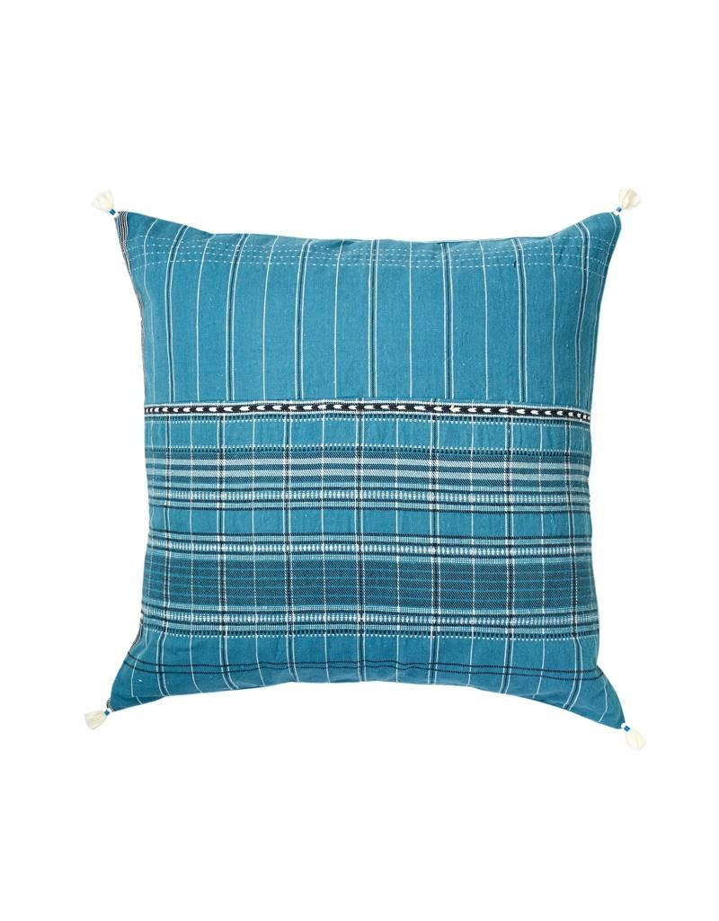 Injiri Teal Plaid Cotton Pillow