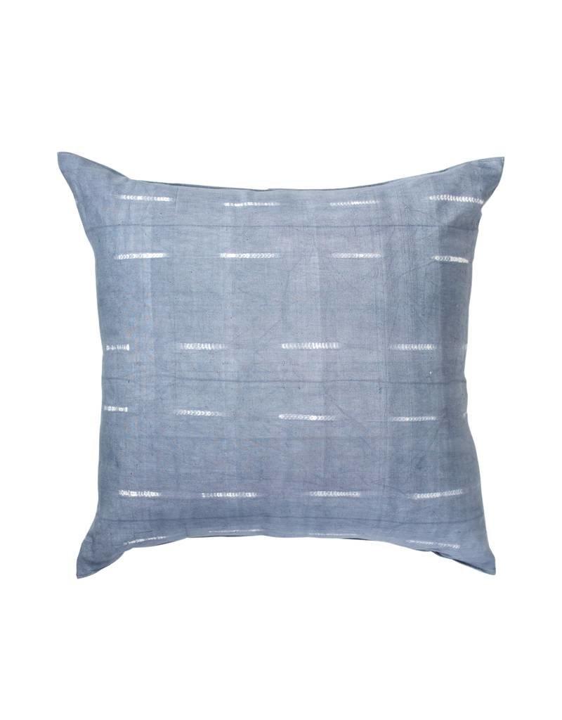 Tensira Handwoven and Dyed Gray Faint Stripe Pillow