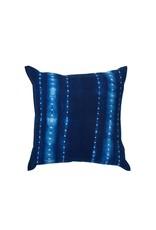 Tensira Handwoven and Dyed Dark Indigo and Dot Stripe Pillow