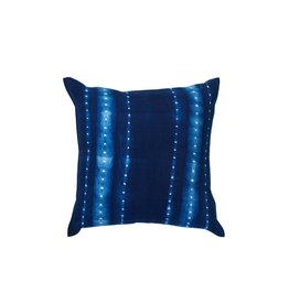 Tensira Handwoven and Dyed Dark Indigo and Dot Stripe Pillow