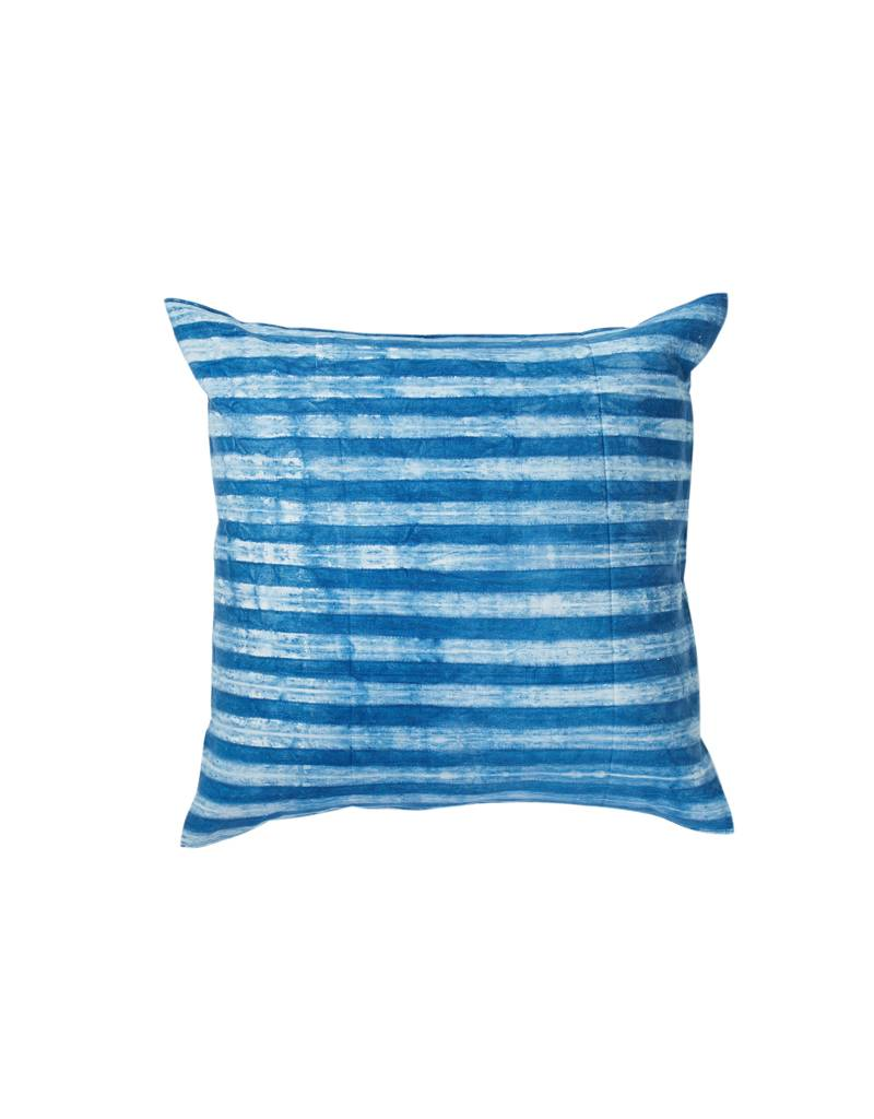 Tensira Handwoven and Dyed Light Indigo Thin Stripe Pillow