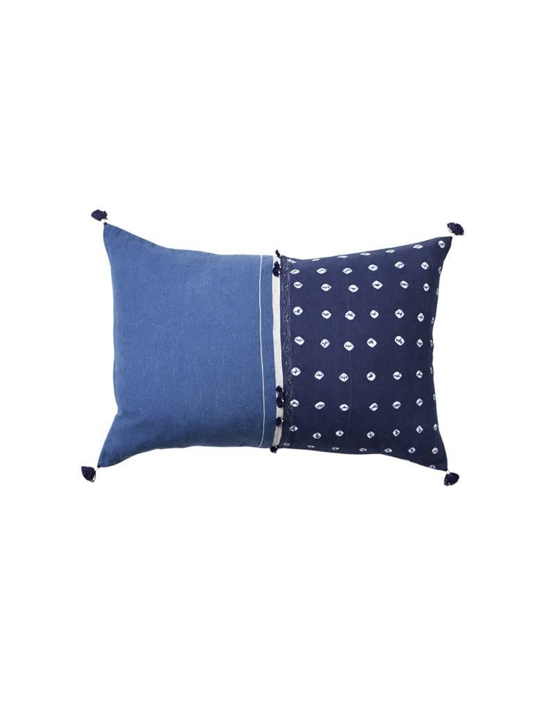 Injiri Navy Tie Dye Lumbar Pillow