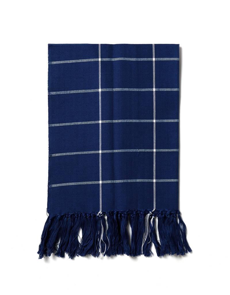Minna Grid Fringe Towel, Indigo