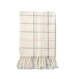 Minna Grid Fringe Towel, Cream