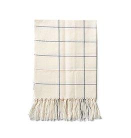 Minna Grid Fringe Towel, Cream