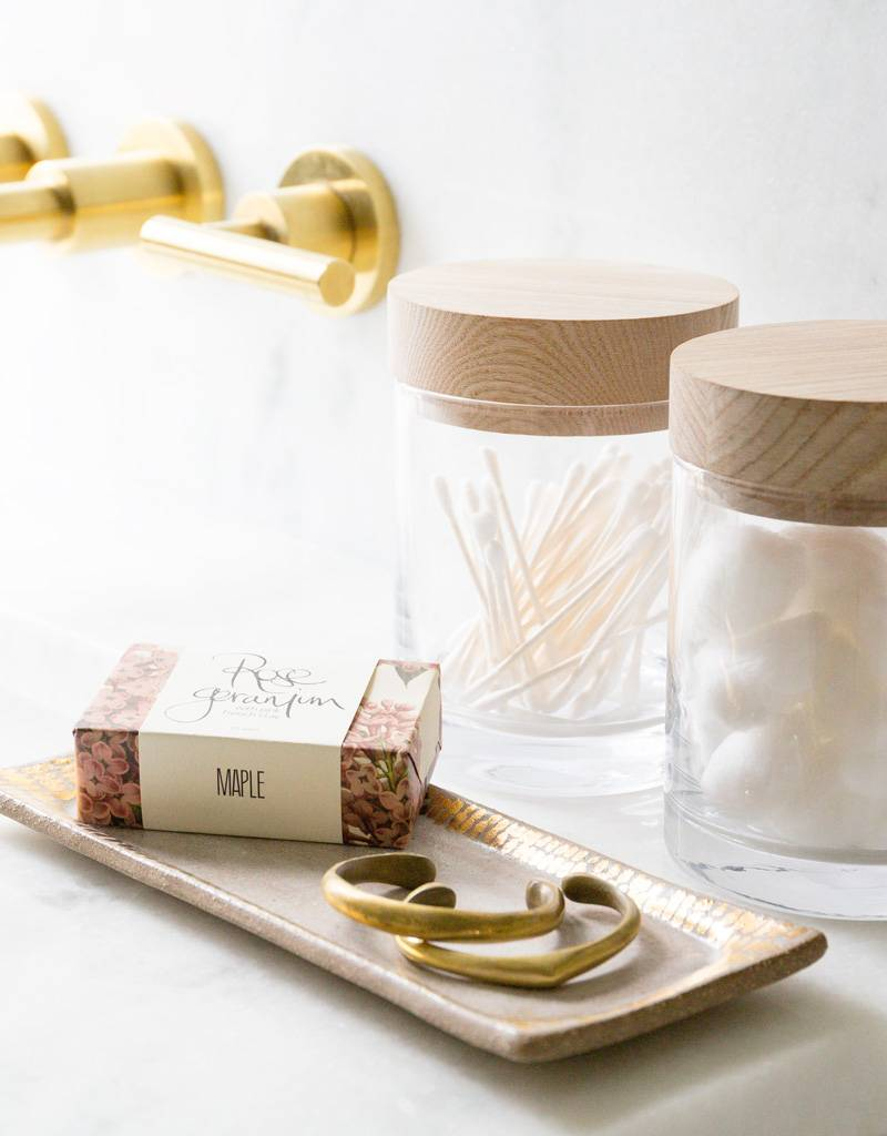 The Object Enthusiast Cream & Gold Dash Vanity Tray, Large