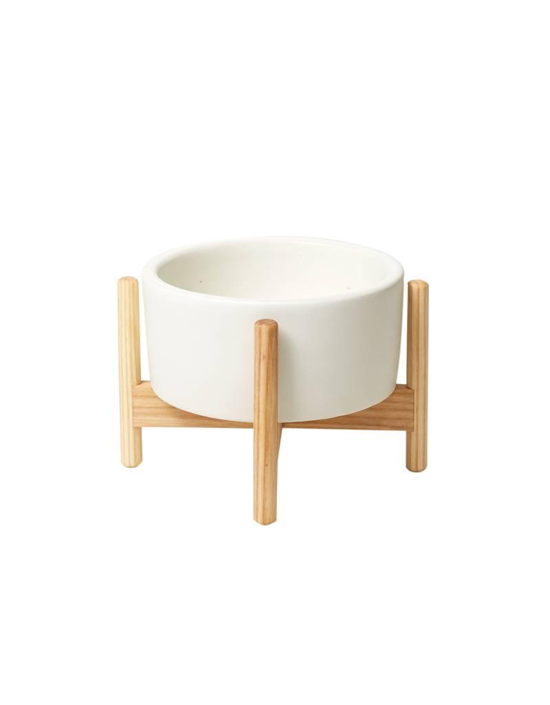 Modernica White Desk Top Planter w/ Ash Wood Stand