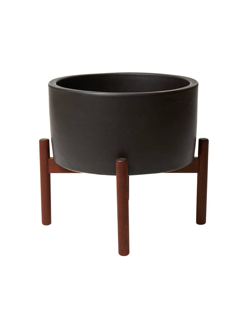 Modernica Charcoal Table Top Planter w/Wood Stand