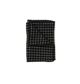 Fog Linen Black  X Beige Plaid Linen Kitchen Towel
