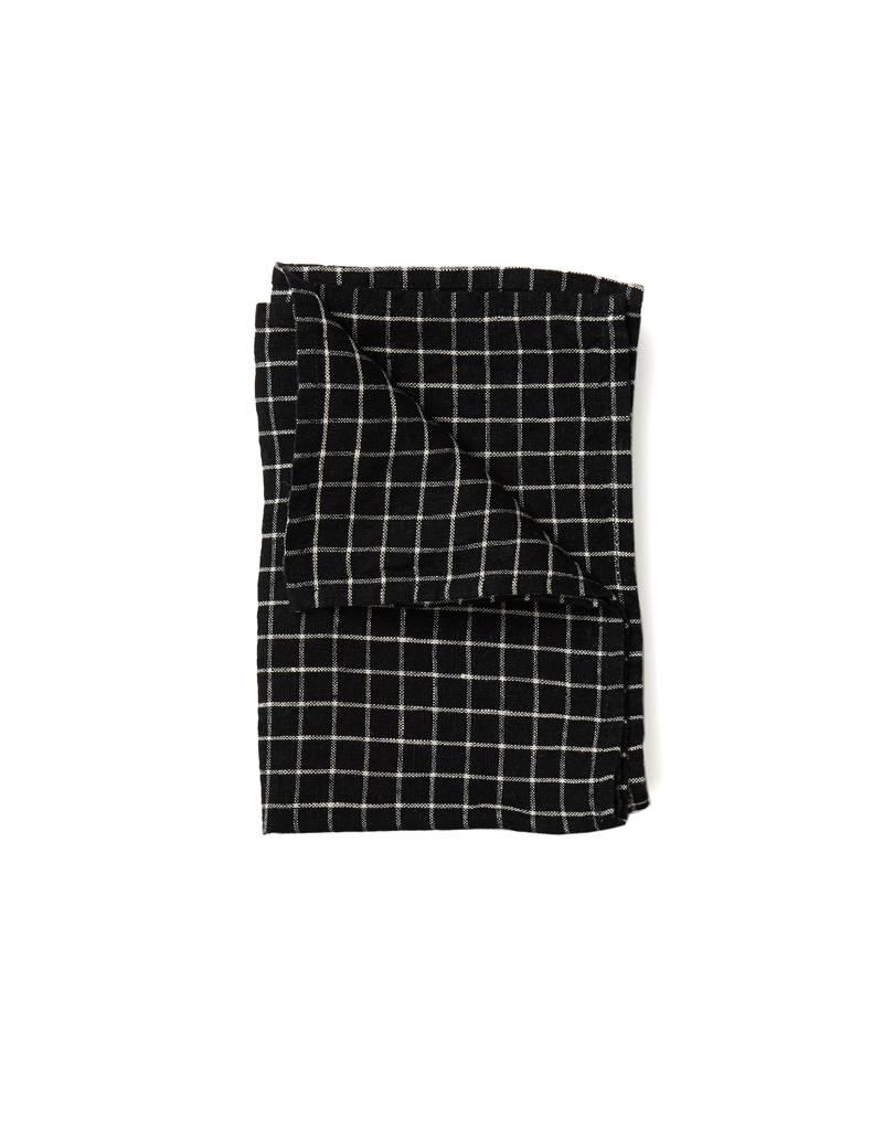 Fog Linen Black  X Beige Plaid Linen Kitchen Towel