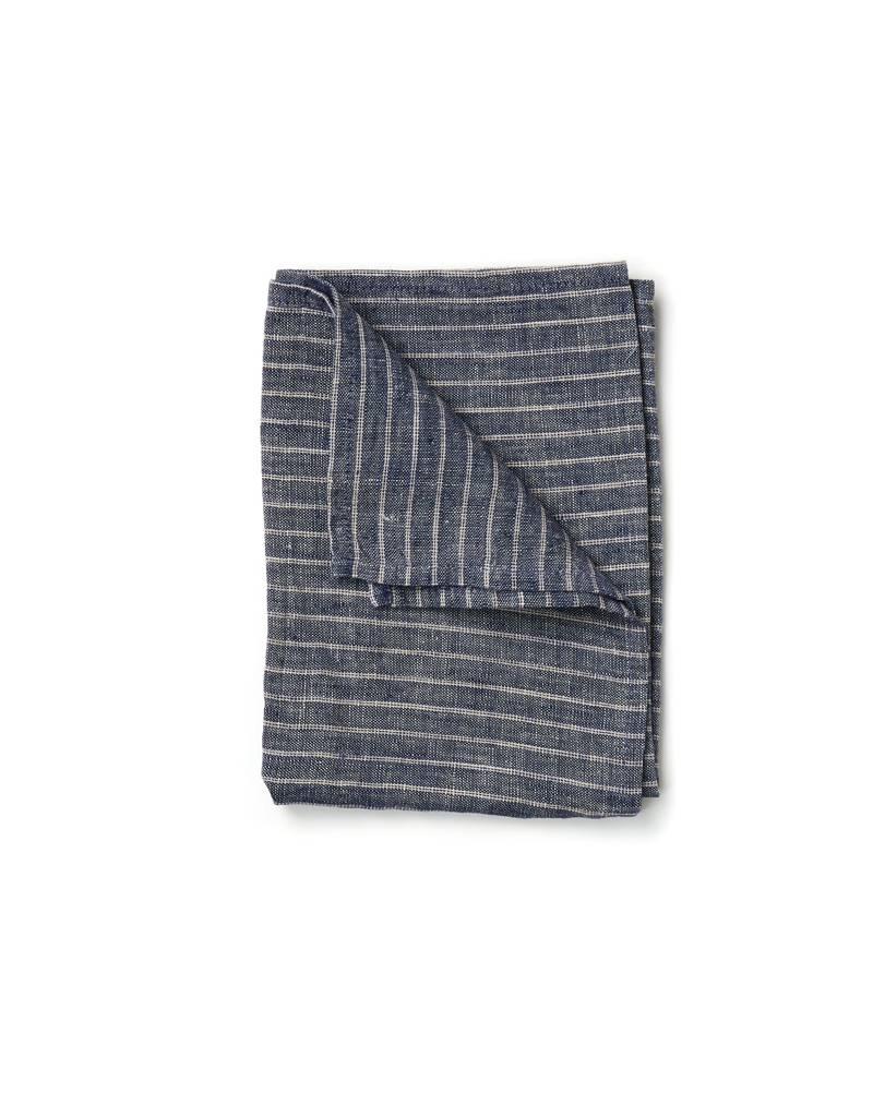 Fog Linen Navy Stripe Linen Kitchen Towel