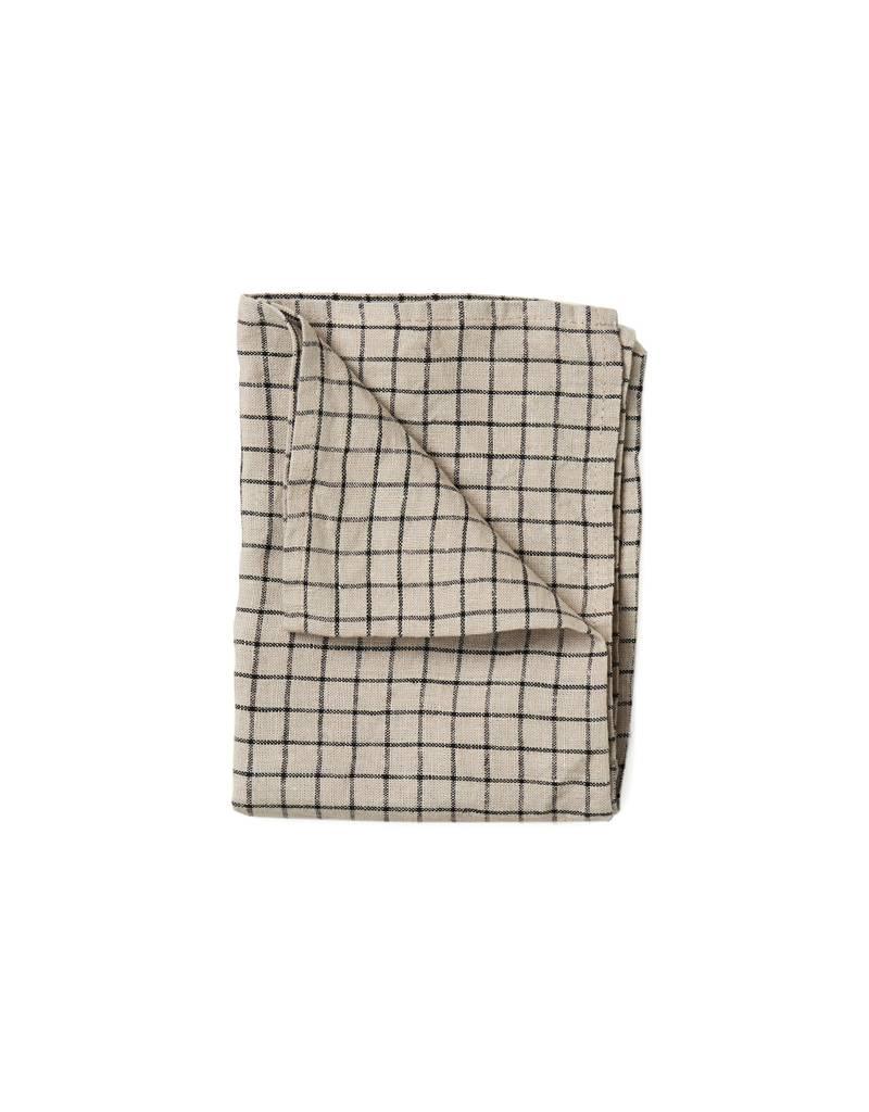 Fog Linen Linen Kitchen Towel-Beige Black Plaid