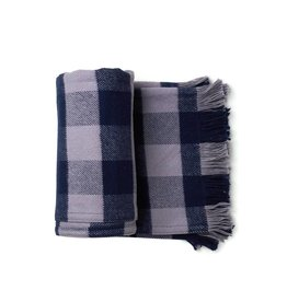 Amana Navy & Gray Checked Throw